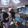 Matt, co-founder of Deviation, and friends show off some of their finest skis for those dreaming of cooler days.- Outdoor Project's San Francisco Block Party 2017