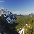 View east toward Eagle Peak (5,958 ft) and Mount Wow (5,921 ft) to the right from near Inspiration Point.- Winter in Mount Rainier National Park
