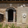 A tomb in the cemetery.- Old Mission Santa Barbara