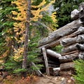 An old log cabin near Blue Lake.- Best Hikes for Fall Colors in Washington