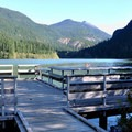 Colonial Creek Campground's fishing pier on Diablo Lake.- A Weekend in North Cascades National Park