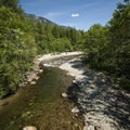 South Fork of the Snoqualmie River at southeast Homestead Valley Road Bridge with the beach at right.- Washington's 50 Best Swimming Holes