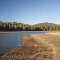 Thompson Reservoir and Hager Mountain (7,185 ft) from East Bay Campground.- A Guide to Camping in Oregon