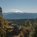 A view of Mount Hood (11,250 ft) from Larch Mountain's summit.- Hiking in the Columbia River Gorge