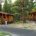 Cabins at LaPine State Park Campground.- Let's Go Camping