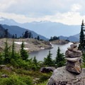 Lake Ann from the 4,900-foot saddle.- Exploring Mount Baker, Washington