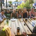 Beers in the Base Camp beer garden tent.- Outdoor Project's 2017 Block Party Series