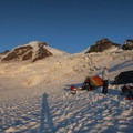 Sunset on Mount Baker from a base camp on Coleman Glacier.- 70 Breathtaking Backcountry Campsites