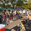 Evening light on the streets at Base Camp Brewing Co.- Outdoor Project's Bend Block Party 2017