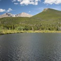 View of Mount Meeker (13,911 ft), Longs Peak (14,259 ft) and Estes Cone (11,006 ft) from Lily Lake.- Gorgeous Colorado Lakes for Summer Adventure