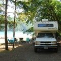 Typical state park campsite along Detroit Lake shoreline.- Let's Go Camping