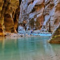 Emerald green water shows the deeper parts of the Virgin River as it flows through Zion National Park. - Everything You Need to Know About Exploring the Narrows in Zion National Park