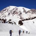 View of Mount Rainier (14,411 ft) from the Edith Creek Basin Trail.- Best Winter Adventure Destinations
