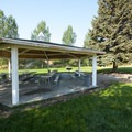 Picnic shelter at Riverside/Old Church Campground.- Rockport State Park