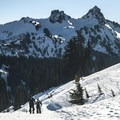 Looking back south at the Castle and Pinnacle Peak (6,562 ft) in the Tatoosh Range from the Edith Creek Basin Trail.- Great Snowshoeing Near Seattle