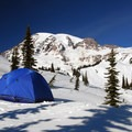 View of Mount Rainier (14,411 ft) from Paradise Winter Campsite.- Where to Find Great Backcountry Skiing in Our National Parks