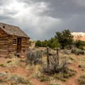 Historic 1920s cabin in Upper Cathedral Valley, Capitol Reef National Park.- Capitol Reef National Park