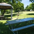 Picnic shelters at Wawawai County Park Campground.- A Guide To Camping in Washington