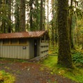 Restroom facility in Graves Creek Campground.- Best Year-round Campgrounds in Washington