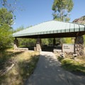 Picnic shelter at Rock Cliff Campground.- Jordanelle State Park