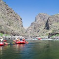 Rafts heading down some rapids on the Lower Salmon River. - Bureau of Land Management