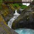 Waterfall views from the bridge in Lava Canyon.- Exploring Mount St. Helens