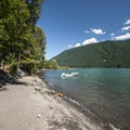 View of Baker Lake from Lower Sandy Beach.- Best Lake + River Camping in Washington