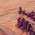 Huge rock towers in Lockhart Basin look toy-like from the heights of Needles Overlook- Bears Ears National Monument