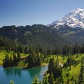 Mount Rainier (14,411 ft) and Eunice Lake from Tolmie Peak.- Our Public Lands: National Parks