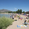 Big Soda Lake Swim Beach.- Bear Creek Lake Regional Park