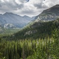 View south toward Longs Peak (14,259 ft) shrouded in clouds.- Denver's Best Day Hikes