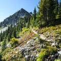 Hidden Lake spur trail with view of Markus Peak (6,962').- Best Hikes for Fall Colors in Washington