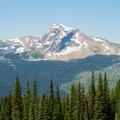 Heaven's Peak dominates views from Loop Trail.- Glacier National Park