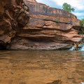 Mill Creek Waterfall, a refreshing stop near the end of Fins N Things Canyon.- Backcountry Swimming Holes Worth the Effort