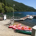 Marina and boat rental at Fairholme Beach/Campground.- Best Lake + River Camping in Washington