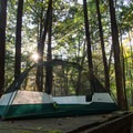 Some of the walk-in sites at Vogel State Park Campground have tent platforms.- The Beginner's Guide to Car Camping