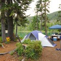 A typical campsite, with ample room to spread out, at Horseshoe Lake Campground.- A Guide to Camping in Oregon