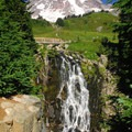 Myrtle Falls and Mount Rainier (14,411').- The West's 100 Best Waterfalls