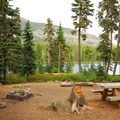 Typical campsite with Olallie Lake view at Peninsula Campground.- A Guide to Camping in Oregon