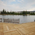 Fishing dock at Peninsula Campground.- Best Lake Camping in Oregon