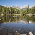 Rocky Mountain National Park viewed from Sprague Lake.- Gorgeous Colorado Lakes for Summer Adventure