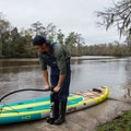 The board comes with an efficient, portable pump.- Gear Review: Bote HD Aero Stand-up Paddleboard
