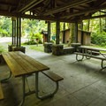 Lyre River Campground picnic shelter.- Best Year-round Campgrounds in Washington