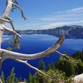 Crater Lake from the lodge.- Camping Near Crater Lake National Park