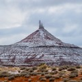 View of the North Six Shooter spire as winter settles on Southern Utah.- Bears Ears National Monument