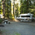 Typical campsite at Potlatch State Park Campground South Loop.- Best Year-round Campgrounds in Washington