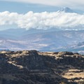 View west from Horsethief Butte to Mount Hood (11,249 ft).- Oil trains are risking it all in the Columbia River Gorge