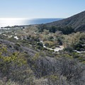 Nicholas Flat Trail, looking back at Leo Carrillo State Park Campground.- Best of Malibu: Beaches, Camping, Parks and Trails
