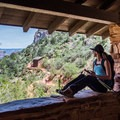 Pausing at the 1.5-mile rest house on Bright Angel Trail.- Grand Canyon National Park