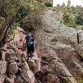 Scrambling on the trail to Flatiron Mountain.- Superstition Mountain Hikes You Won't Want to Miss